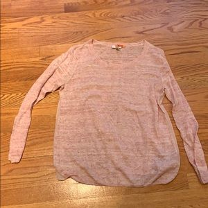 Long sleeve sweater with chiffon back